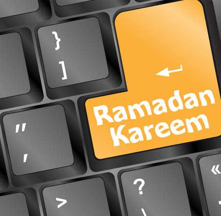 escape key: Computer keyboard with ramadan kareem word on it