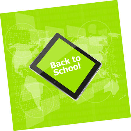 it is isolated: Tablet PC set with back to school word on it, isolated on white