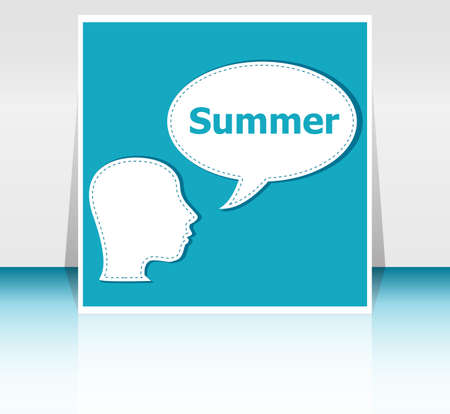 to think about: people think about summer, man and speech bubbles, summer holiday card