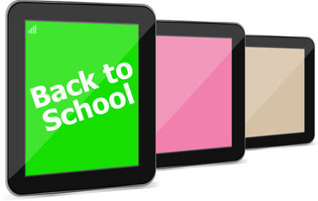 it is isolated: Tablet PC set with dack to school word on it, isolated on white