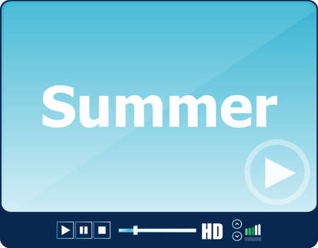 card player: Video player for web with word summer on it, holiday or technology card