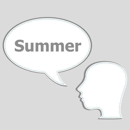 think about: people think about summer, man and speech bubbles