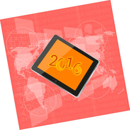 touch screen phone: talet pc or smart phone on business digital touch screen, world map, happy new year 2016 concept