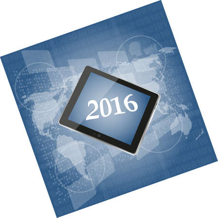 touch screen phone: tablet pc or smart phone on business digital touch screen, world map, happy new year 2016 concept Stock Photo
