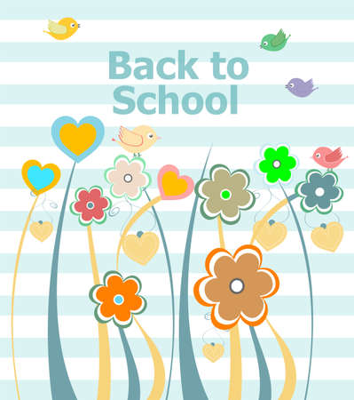Back to school invitation card with flowers, education concept Stock Photo