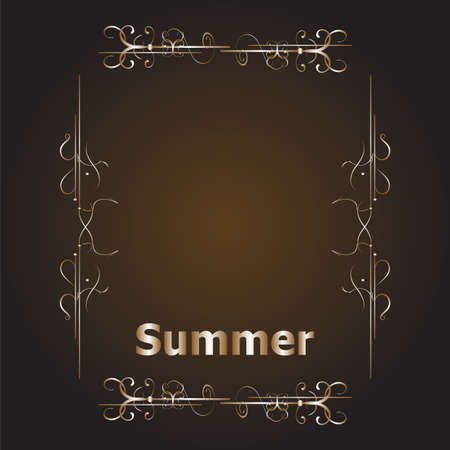 label frame: Elements for Summer calligraphic designs. Vintage ornaments. All for Summer holidays