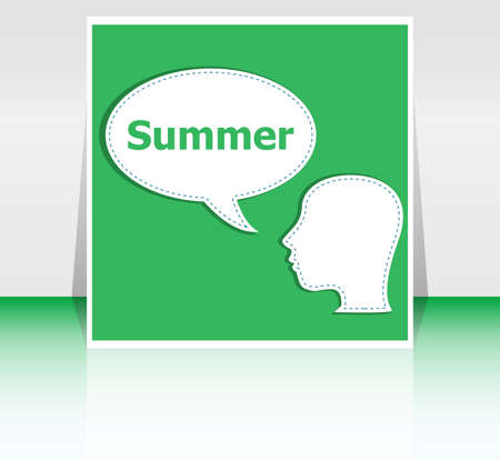think about: people think about summer, man and speech bubbles, summer holiday card