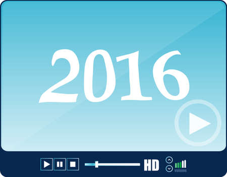 adjuster: Media player interface, web player isolated on white with a 2016 sign, holiday icon