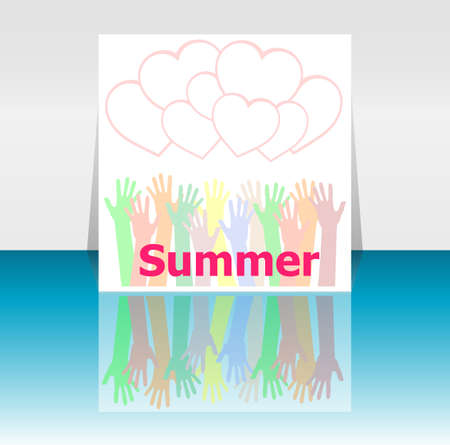 reach customers: word summer and people hands, love hearts, holiday concept, icon design