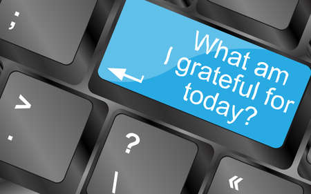 am: What am i grateful for today. Computer keyboard keys with quote button. Inspirational motivational quote. Simple trendy design Stock Photo