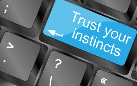 instincts: Trust your instincts. Computer keyboard keys with quote button. Inspirational motivational quote. Simple trendy design