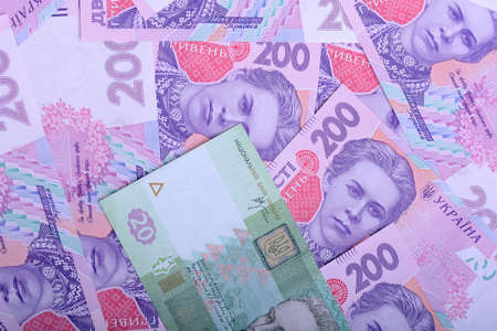 european money: european money, ukrainian hryvnia close up