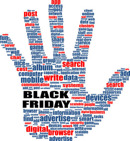 socialize: Hand sign with social media word cloud. Black friday. Vector illustration Illustration