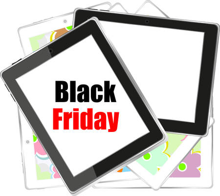 it is isolated: Black abstract Tablet PC with black friday sale words on it. isolated on white background. vector illustration