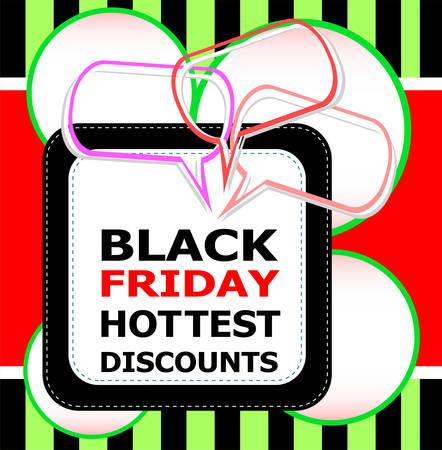 hottest: Black Friday hottest discounts sale inscription design template. Black Friday banner. Vector illustration