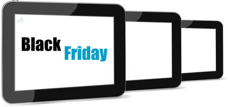 screen savers: Black Friday Sale. Black Tablet PC Pad. Vector illustration.