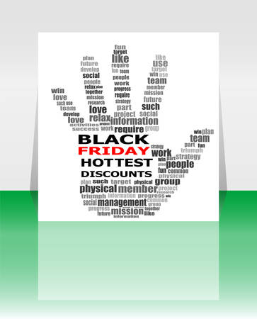 family discussion: Hand sign with social media word cloud. Black friday. Vector illustration Illustration