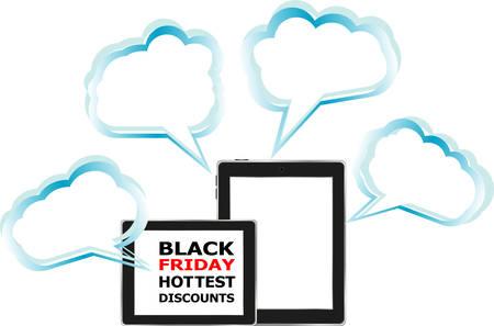 screen savers: Black Friday Sale. Black Tablet PC Pad. Vector illustration.