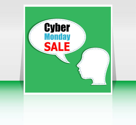 cyber girl: cyber monday deals design. Cyber monday sale concept. Vector illustration Illustration