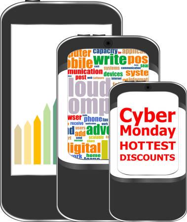 mega phone: Cyber Monday Sale. Design Template for Commerce Business Website Presentation. Vector Illustration. Illustration