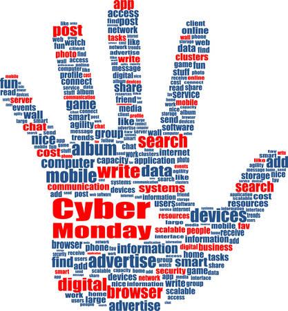 socialize: Cyber monday sale inscription design template. Cyber monday discounts concept. Vector illustration