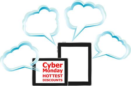 screen savers: Cyber Monday Sale. Design Template for Commerce Business Website Presentation. Vector Illustration. Illustration