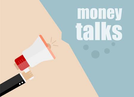 news background: vector flat design business illustration concept. money talks. Digital marketing business man holding megaphone for website and promotion banners. Illustration