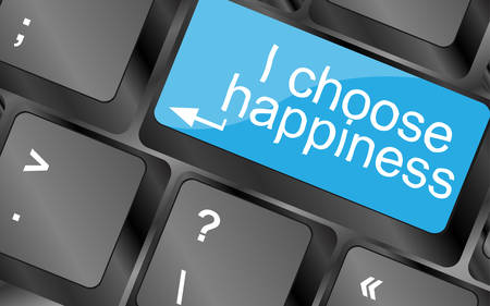 choose: I choose happiness. Computer keyboard keys with quote button. Inspirational motivational quote. Simple trendy design. Vector illustration Illustration