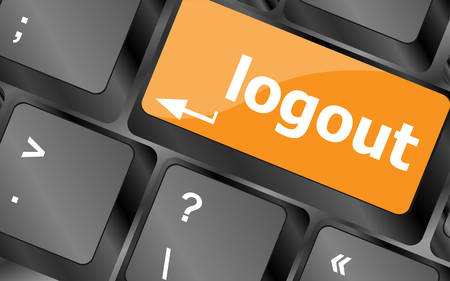 username: Computer keyboard key log out, business concept, illustration