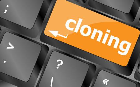 clonacion: clonaci�n bot�n del teclado en la PC del ordenador, ilustraci�n Vectores