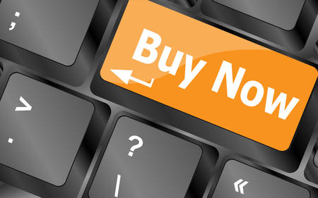 buy shares: keyboard buy now icon - business concept, illustration