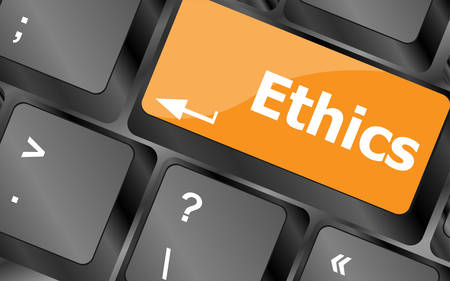 ethics: ethics concept on the modern computer keyboard key, illustration
