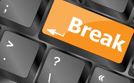 big break: Keyboard with break button, business concept, illustration Illustration
