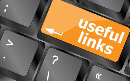 useful links keyboard button - business concept, vector illustration Illustration