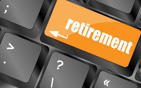retire: retirement for investment concept with a button on computer keyboard, vector illustration Illustration