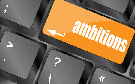 ambition: computer keyboard with ambition button - business concept, keyboard keys, vector illustration