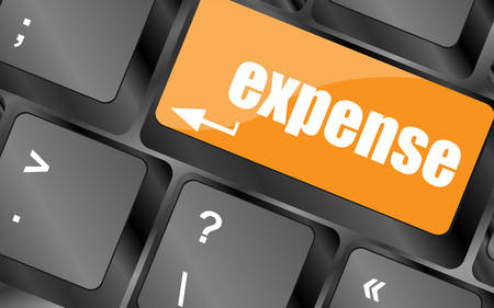 expense: expense button on the keyboard close-up, vector illustration