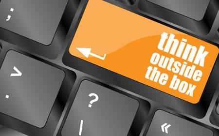 teclado de computadora: pensar fuera de la caja de las palabras, el mensaje de tecla enter del teclado, ilustración vectorial Vectores
