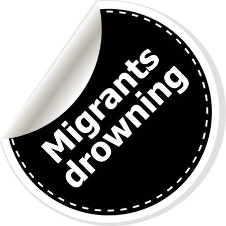 drowning: migrants drowning. vector illustration of realistic stickers or notes. Black and white style. Illustration