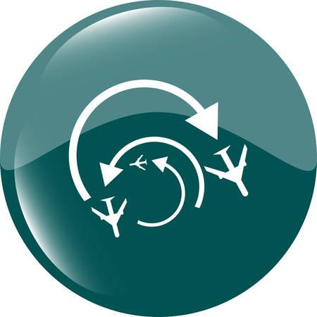 shiny button: Airplane sign. plane symbol. travel icon. flight flat label. web shiny button vector illustration Illustration