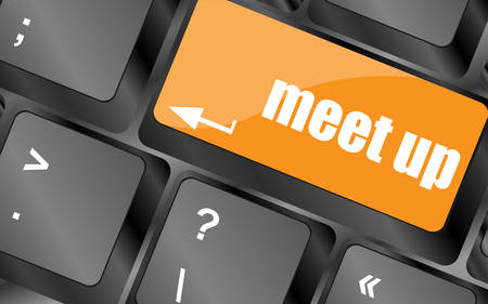 meet: Meeting (meet up) sign button on keyboard with soft focus, vector illustration