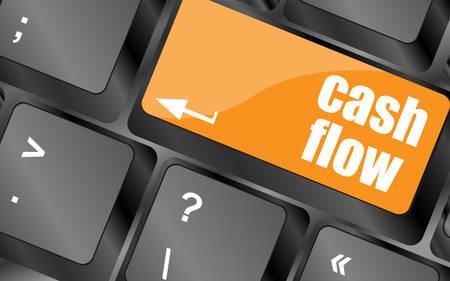 cash flow: cash flow words button on keyboard keys, vector illustration