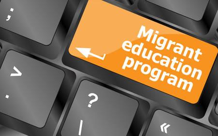 computer education: migrants education program. keyboard button on computer keyboard keys, vector illustration