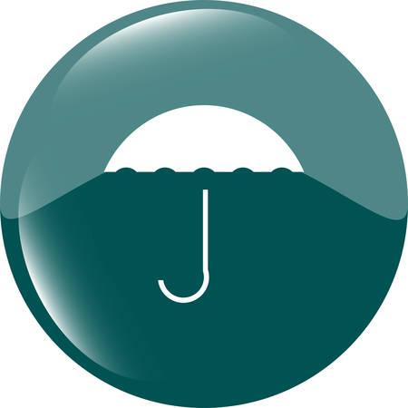 shiny button: Umbrella sign icon. Rain protection symbol. Web shiny button. Modern UI website button vector illustration