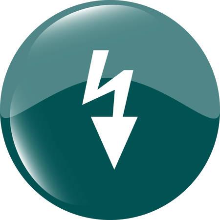 shiny button: Photo flash sign icon. Lightning symbol. Web shiny button vector illustration