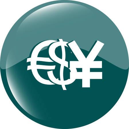 euro money: dollar yen and euro money sign button, web icon vector illustration