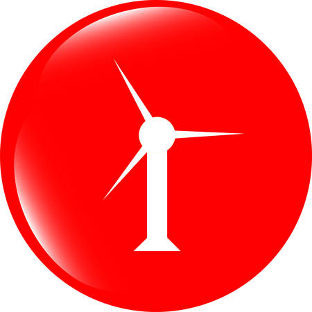 windfarm: vector wind turbine icon, web button isolated on white