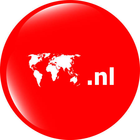 nl: Domain NL sign icon. Top-level internet domain symbol with world map vector illustration