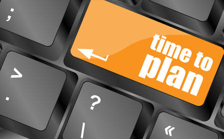 prognoses: future time to plan concept with key on computer keyboard, vector illustration