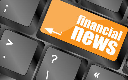 exceeds: financial news button on computer keyboard, vector illustration